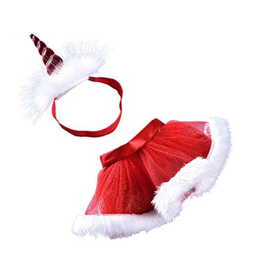 Fenical Tutu Röcke mit Einhorn Horn Stirnband Geschichteten Party Kostüme Set Größe S für Babay Mädchen (rot)