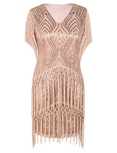 PrettyGuide Damen Flapper Kleid Pailletten Ärmel mit Fransen Vintage Cocktailkleid S Rosé Gold