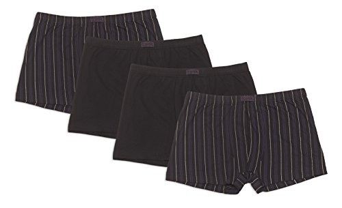 Frank Fields Herren Retro-Pants aus Baumwolljersey, Pants für Männer, Shorts Herren, 4er Pack von Größe 5/M bis14/6XL, Farbe:schwarz, Größe:4XL