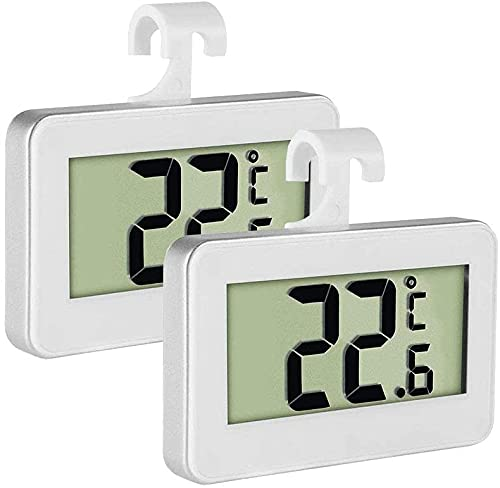 INFUZSION Fridge Thermometer 2 Pack - Waterproof Digital Freezer Room Thermometer - LCD Refrigerator Thermometer with Hanging Hook and Retractable Stand