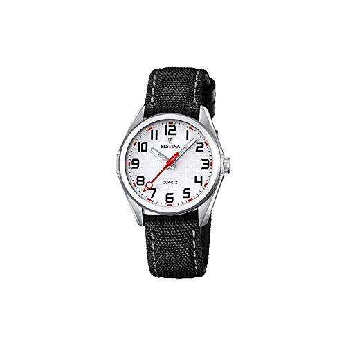 FESTINA Reloj Modelo F16904/A de la colección Junior Collection, Caja de 31 mm Plata con Correa de Cuero Negro para niño