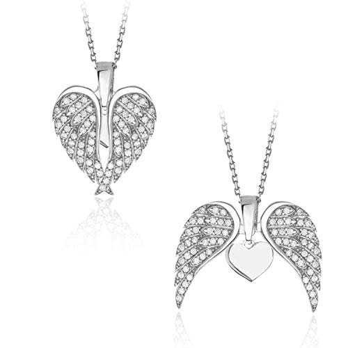 925 Sterling Silver Angel Wing Necklaces for Women, Rhodium Plated Asthetic Jewellery White Cubic Zirconia Angel Wing Heart Pendant Charm Guardian Angel Necklaces for Teen Girls
