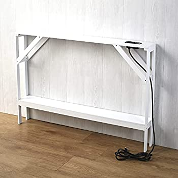 Skinny Sofa Table with Outlet - Modern Accent Table with White Finish