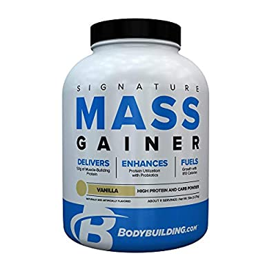Bodybuilding Signature Signature Mass Gainer | 50g of Mass-Building Protein | Protein, Calories, Fats, Probiotics and Carbohydrates | 5 Lbs. Vanilla