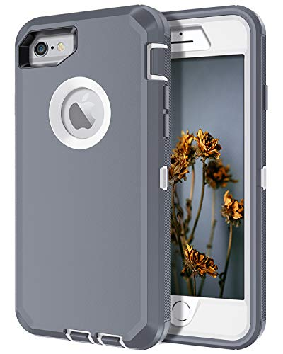 I-HONVA for iPhone 6s Plus Case, iPhone 6 Plus Case Built-in Screen Protector Shockproof 3-Layer Full Body Protection Rugged Heavy Duty Durable Cover Case for Apple iPhone 6 Plus/6s Plus, Grey/White