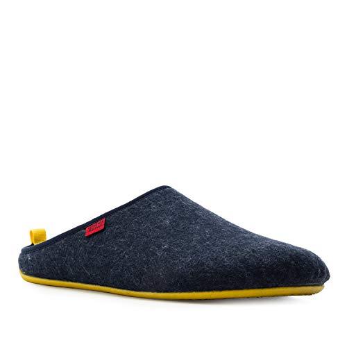 Andres Machado Unisex Hausschuhe für Damen und Herren für Sommer und Winter - Slipper/Pantoffeln Dynamic, Marineblau Gelb, 39 EU