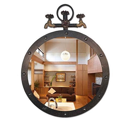 NMDCDH Espejo Redondo de Pared de Metal Antiguo Grifo de baño de Hierro Retro Espejos Colgantes de diseño Industrial para entradas/baños/Salas de Estar (Color: Black, Size: W50 & Time