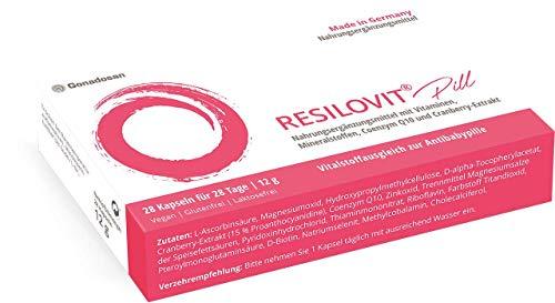 Resilovit pill, Vitalstoffausgleich zur Antibabypille. Mit Vitaminen, Mineralstoffen, Coenzym Q10 und Cranberry-Extrakt