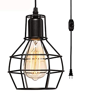 Creatgeek Plug-in Pendant Light with 16'Cord and On/Off Dimmer Switch, Industrial Rustic Hanging Ceiling Lamps, Perfect Lighting Fixture for Kitchen Island Dining Room Living Room, Black Finish
