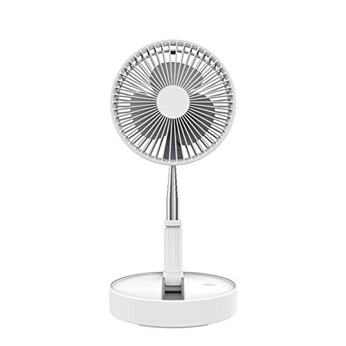 Portable USB Desk Fan, Desktop and Table Fan, Travel Portable Air Circulator Fan Mini Fans Battery Operated or USB Powered, Height Adjustable from 14.2 inches to 3.3ft Floor Stand Pedestal (white)
