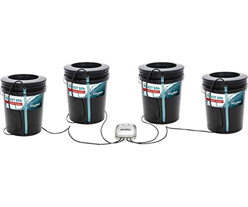 Active Aqua RS5GAL4SYS Root Spa 5 Gallon Hydroponic 4 Bucket Deep Water Culture Grow Kit System with Multi-Purpose Air Hose and Air Pump, Black