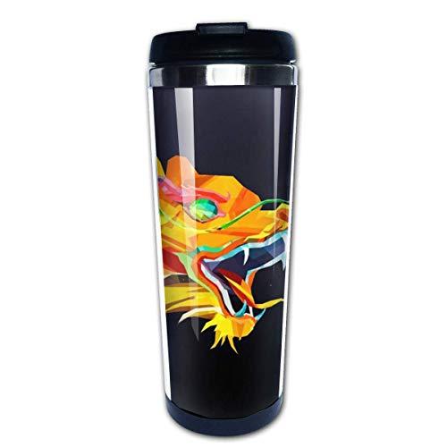 Taza de café de viaje Colorido Dragón chino Taza de café con aislamiento de acero inoxidable negra Botella de agua deportiva 13.5 Oz (400 ml) MUG-3728