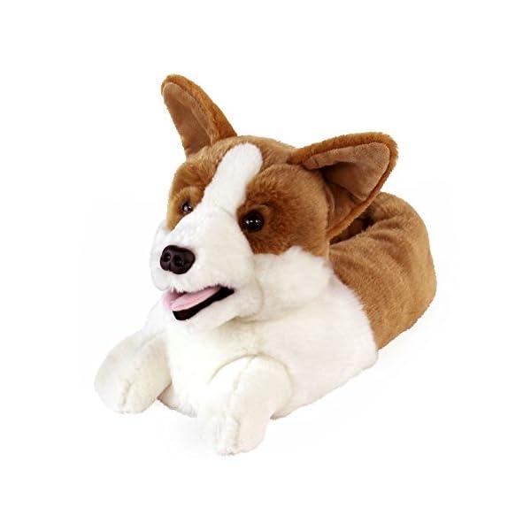 AnimalSlippers.com Corgi Slippers – Plush Dog Animal Slippers, White and Tan
