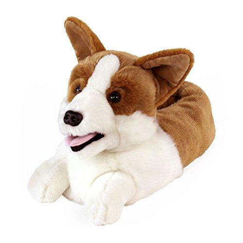 AnimalSlippers.com Corgi Hausschuhe - Hundeschuhe Einheitsgröße Weiß