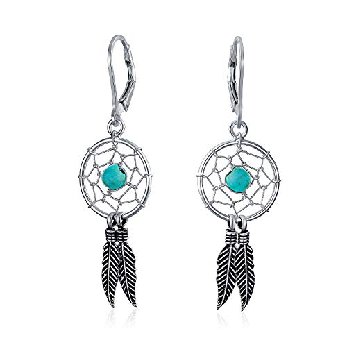 Boho Native American Style Stabilized Turquoise Dream Catcher Feather Dangle Earrings For Women 925 Sterling Silver