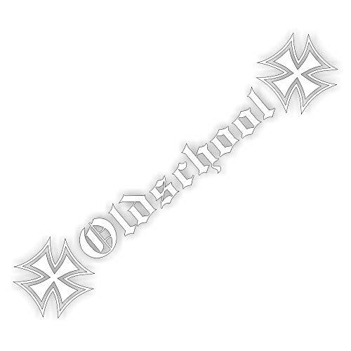 Foliezentrum 1x Oldschool met kruis 20 x 3,5 cm wit sticker Tuning 347 Shocker Auto JDM OEM Dub Decal Sticker Illest Dapper Oldschool Folie
