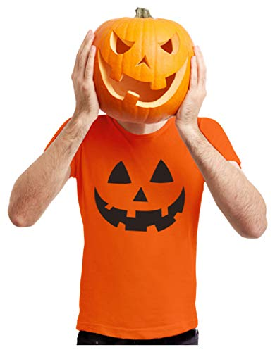 Halloween Pumpkin Shirt Jack O Lantern Face Fun Easy Costume Men Shirt X-Large Orange