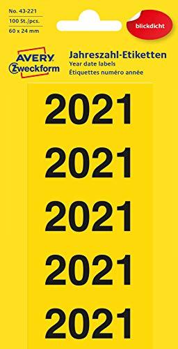 AVERY Zweckform 43-221 Jahreszahlen Aufkleber für Ordner (Etiketten 60x24 mm, Aufdruck 2021, 100 Aufkleber auf 20 Bogen, blickdicht, selbstklebend und permanent haftend) gelb