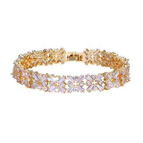 ONEBUYONE Charms Armbänder für Frauen, Mode Tennis Armband Intarsien Granat Smaragd Amethyst Morganit Peridot Topas Gold Armreif für Schmuck Geschenk,6.7''