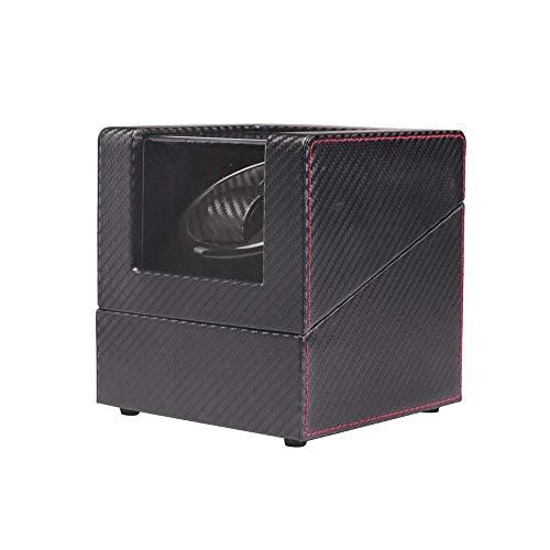 AMAFS Mira enrollador de Reloj automático Individual, Cuero sintético de Fibra de Carbono Negro, Motor súper silencioso, Almohadas Suaves para Relojes (Color: A) Beautiful Home