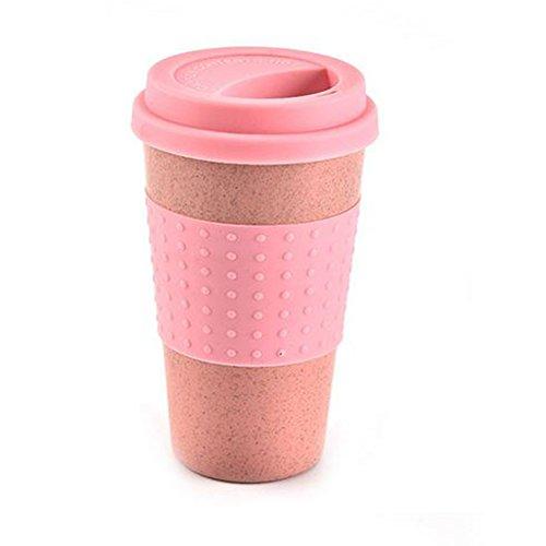 Taza de agua reutilizable Cola Tazas de café Paja de trigo Botella de bebida saludable Multifuncional con tapa Taza de café Taza de viaje(rosa)