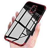 mobistyle Electroplating Soft Silicone Transparent TPU Back Case Cover for OnePlus 7 (Electro Red)