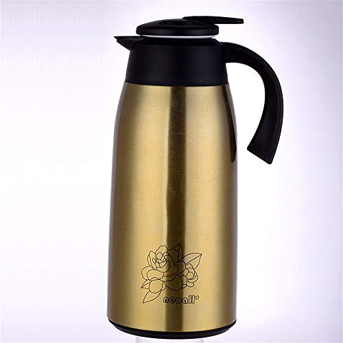 QinWenYan Olla de Aislamiento Copa de vacío con Aislamiento de Gran Capacidad de la Caldera Caliente y frío Durante 12 Horas Adecuado for el café y té para el Té (Color : Gold, Size : 1l)