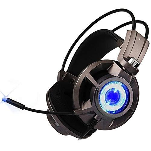 Feixunfan Casque de Jeu Virtual 7.1 for Ordinateur Professionnel Joueurs Surround Sound USB Jeu Lumineux avec Microphone Casque Gaming pour Ordinateur et Plus (Color : Black, Size : M)