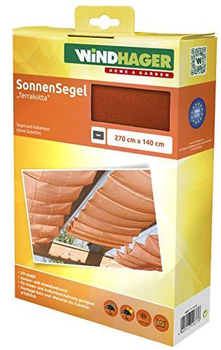 Windhager Sonnensegel für Seilspanntechnik, Wintergarten und Terrassen Beschattung, Seilspannmarkise, 270 x 140 cm, 10877, Terracotta