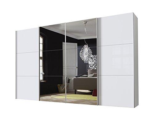 Express Möbel Panoramaschrank 4-türig Stars Design Spiegel Weiß Glas satiniert 01136-042 BxHxT 400x216x68