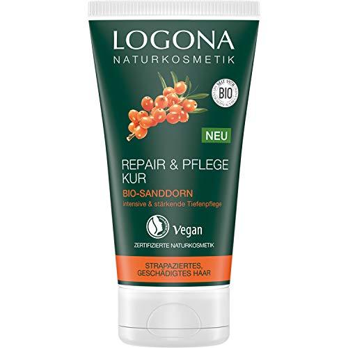 LOGONA Naturkosmetik Repair & Pflege Kur Bio-Sanddorn, Intesive Pflege für trockenes, Geschädigtes Haar, Reapriert, 150 ml