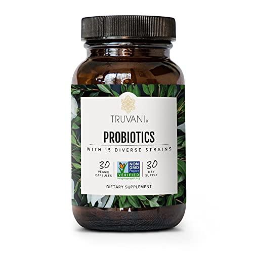 TRUVANI - 15 Billion CFU Probiotic with 15 Strains | Promotes Digestive Health, Immune Support & Gut Health | No Fillers, Vegan, Non GMO | 30 Servings