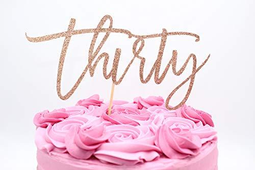 Thirty Cake Topper Rose Gold Number Cake Topper 30 Rose Gold Cake Topper Glitter Cardstock Topper