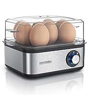 Arendo Eierkoker van roestvrij staal voor 1 tot 8 eieren, 500 W, controlelampje, draaiknop voor drie hardheidsgraden, vaatwasmachinebestendig, geborsteld roestvrij staal
