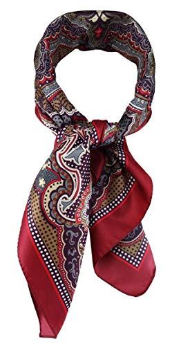 TigerTie Damen Nickituch Halstuch in bordeaux anthrazit beige silber rot gemustert - Größe 60 x 60 cm