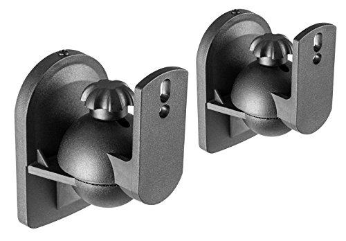 RICOO LH028 - Lautsprecher Wand-Halterung Schwenkbar Neigbar - Boxen Wand-Halterung Set aus 2 Stück / 1 Paar - Bluetooth WLAN Speaker Wand-Halter -Schwarz