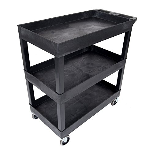Luxor EC111-B Tub Storage Cart 3 Shelves - Black,32' x 18'