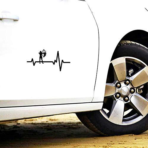 Persönlichkeit Lustiger Autoaufkleber HeartBeat Line Bogenschießen Frau Bogen Pfeil Sonnenschutz Anti UV Aufkleber, 11cm * 6cm