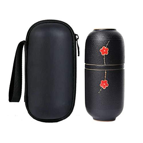 Hoobar Ceramic Kung Fu Tea Set,Japanese Style Black Pottery Tea Set with Teapot,Teacups and Tea Leakage,Portable Tea Set Travel Bag for Outdoor,Office and Travel