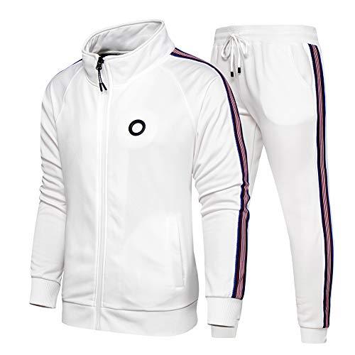 Aotorr Survêtement Homme Ensemble Veste Blouson Sweat et Pantalon Jogging Blanc XL