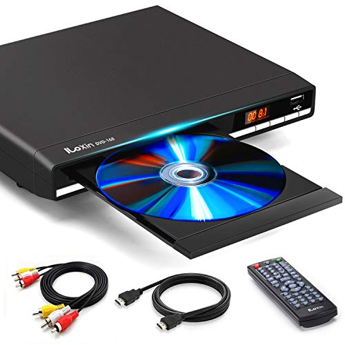 DVD Players for TV with HDMI Output, Full HD 1080P Upscaling DVD Player for Home, Plays All Formats & Regions,Multi-Formats DVDs CDs Supported, USB Port, Remote Control and AV HDMI Cable Included