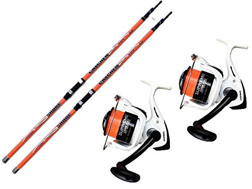 EVO FISHING Combo surfcasting Kit 2 pz Canna Surfcasting Catcher 390 + 2 PZ Mulinello Supreme CX 8000 5BB
