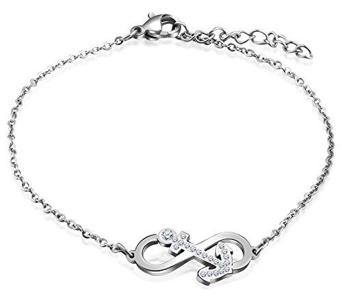 Feilok Damen-Armband Damen-Armreifen Armkette Verstellbar Charm Armkettchen mit Unendlichkeit Infinity Zeichen Anker Kristall Elegant Edelstahl Silver