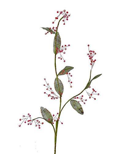 artplants.de Künstlicher Diamantenzweig MAILA, Beeren, rot, 70cm - Deko Beeren - Künstlicher Zweig