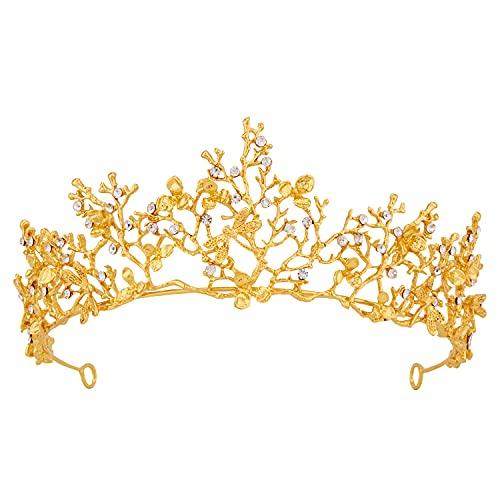 Tiara Vofler corona dorada barroca vintage retro libélula rama de flores coral cristal diadema diadema joyería para el cabello decoración para mujeres reina damas chica novia princesa cumpleaños boda
