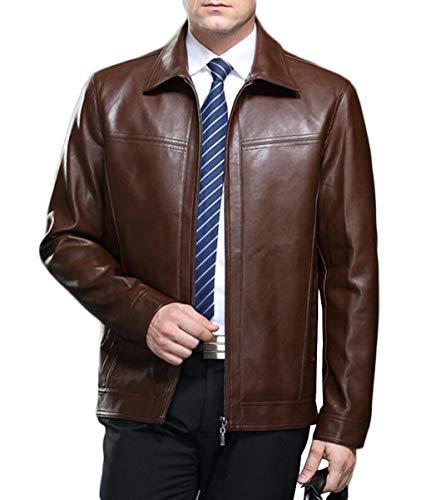 PFSYR Veste en Cuir pour Hommes, col Montant Mode Manteau en Cuir véritable de Haute qualité, Automne et Hiver Chaud et Confortable (Couleur : Brown, Taille : XL)