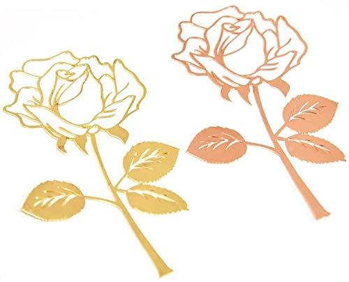 Marcadores de libros,COTEY 2 Piezas Metal de Acero Inoxidable Flor Rosa Bookmark,Electroplated Rose Metal Bookmark,Papelería de Oficina Decorativa para Mujeres Regalos de Navidad san Valentín