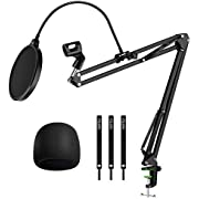 YOTTO Adjustable Mic Stand for Blue Yeti Snowball Suspension Boom Scissor Arm Stand with Microphone Windscreen and Dual Layered Mic Pop Filter & Cable Ties