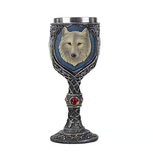 VOANZO Resina Metal Lobo Cráneo Cráneo Copa de Vino Retro Copa de Cóctel Gótico Lobo Whisky Copa Para Fiesta Bar Bebidas