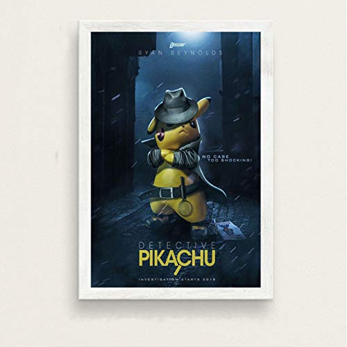 PCCASEWIND Frameless Painting 50X70Cm, Pokemon Detective Pikachu Art Film Silk Painting Canvas Wall Poster Home Decor,Pc-274